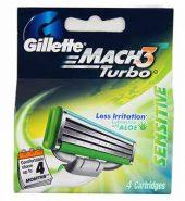 Gillette Mach3 Turbo Sensitive Cartridges 4 Pcs