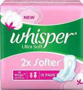 Whisper Ultra Soft Sanitary Pads Xl Wings 15 Pcs